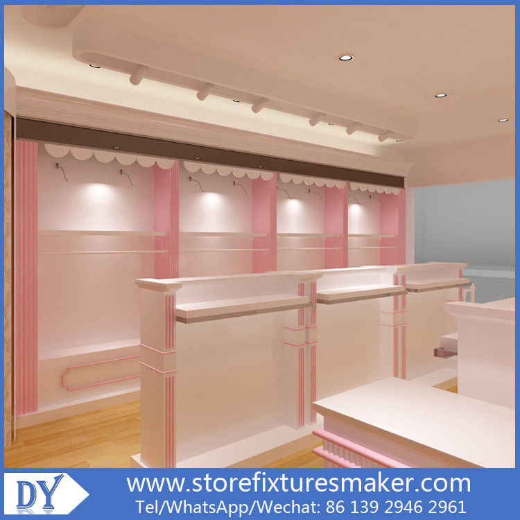 Factory OEM Supplier mdf  wooden  in pink white lacquer Baby Girl Clothing Stores display furnitures proveedor
