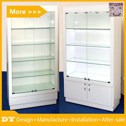 Customized good quality wall glass jewelry display shelves with lighting proveedor