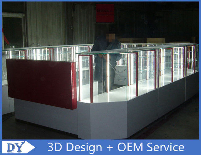 Customize made white wooden tempered glass mobile kiosk for sale proveedor