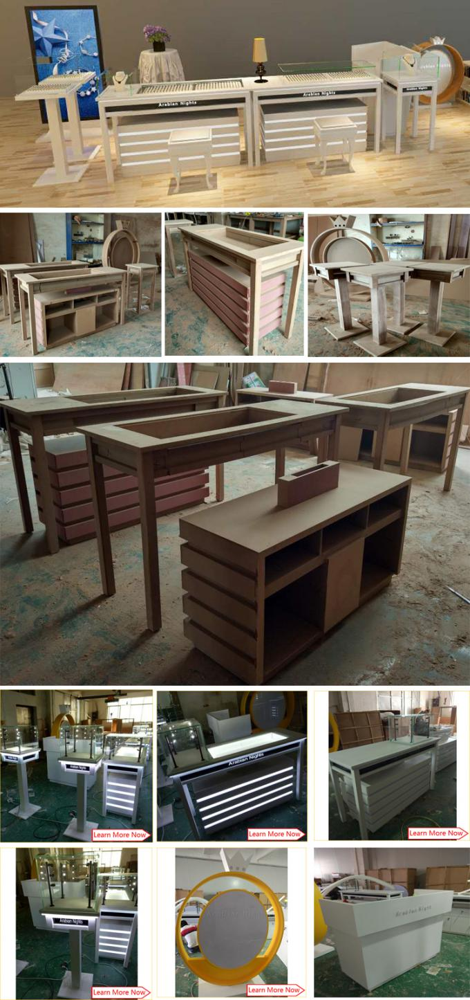 Customized mdf wood jewelry display counters,jewelry equipment for sale
