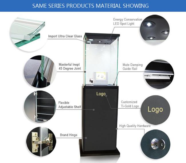 Supplier manufacturer wooden glass full assamble exhibition showcase with lock